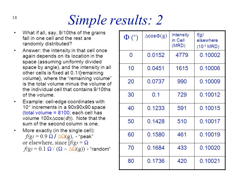 Simple results: 2 What if all, say, 9/10ths of the grains fall in one cell and the rest are randomly distributed