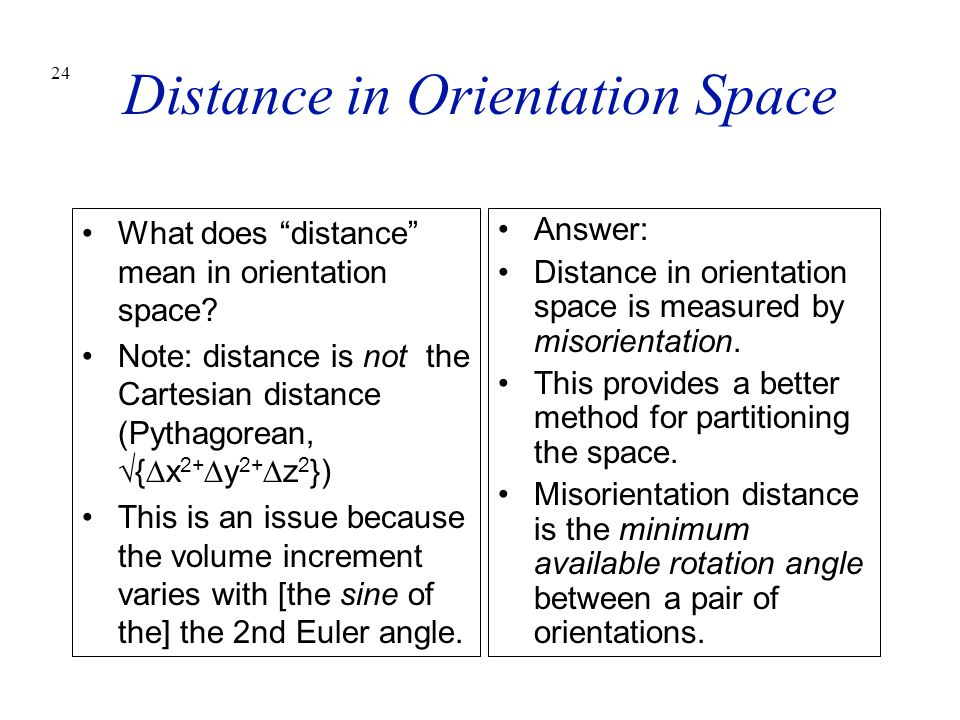 Distance in Orientation Space