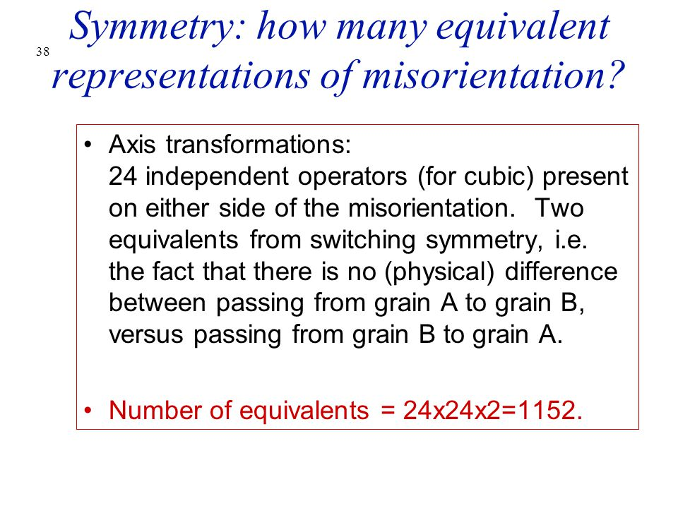 Symmetry: how many equivalent representations of misorientation