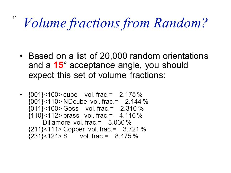 Volume fractions from Random
