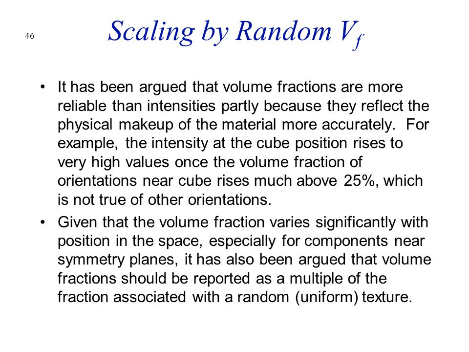 Scaling by Random Vf