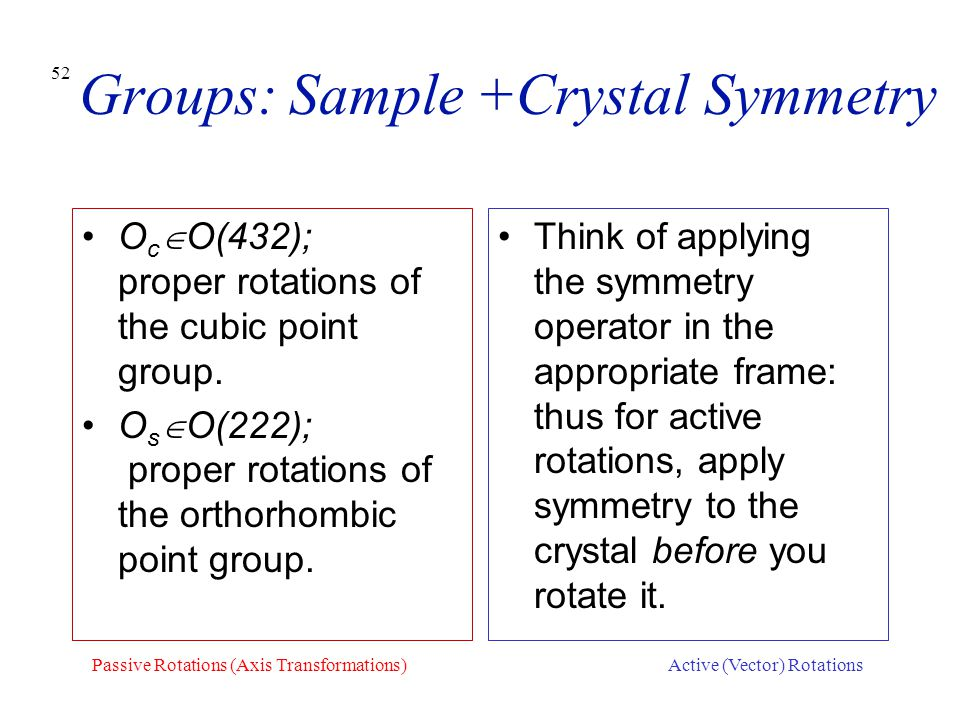 Groups: Sample +Crystal Symmetry