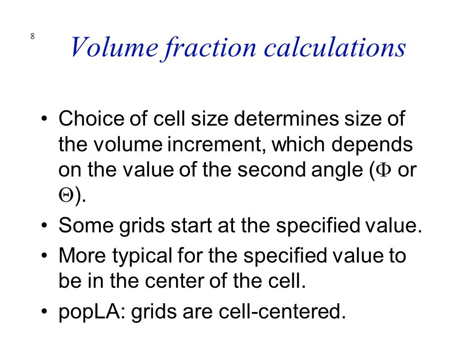 Volume fraction calculations