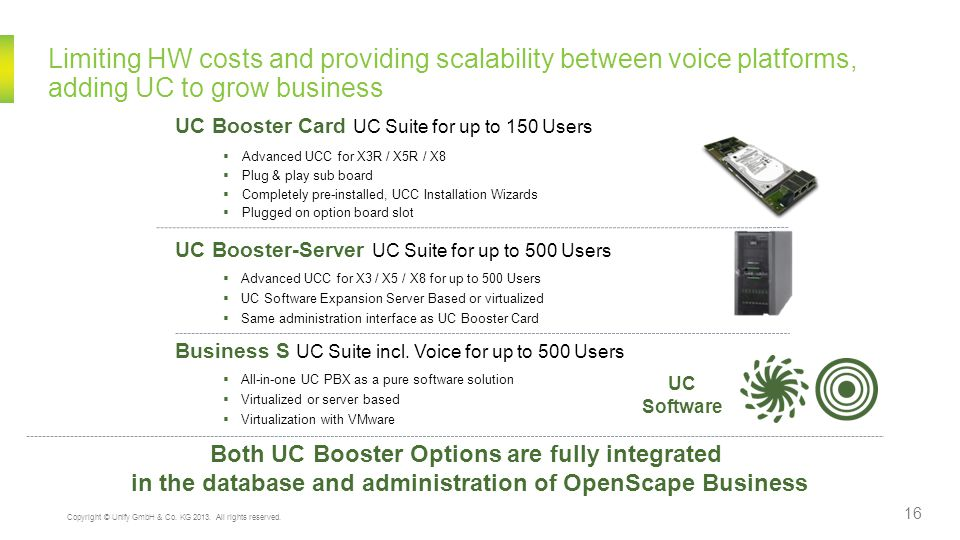 Limiting HW costs and providing scalability between voice platforms, adding UC to grow business