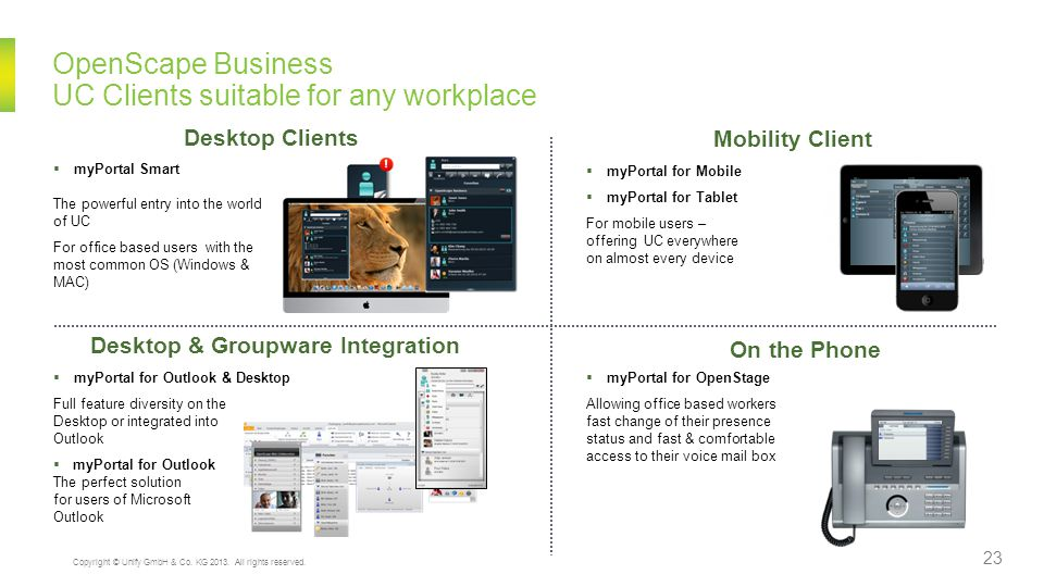 OpenScape Business UC Clients suitable for any workplace