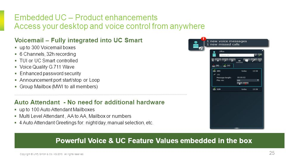 Powerful Voice & UC Feature Values embedded in the box