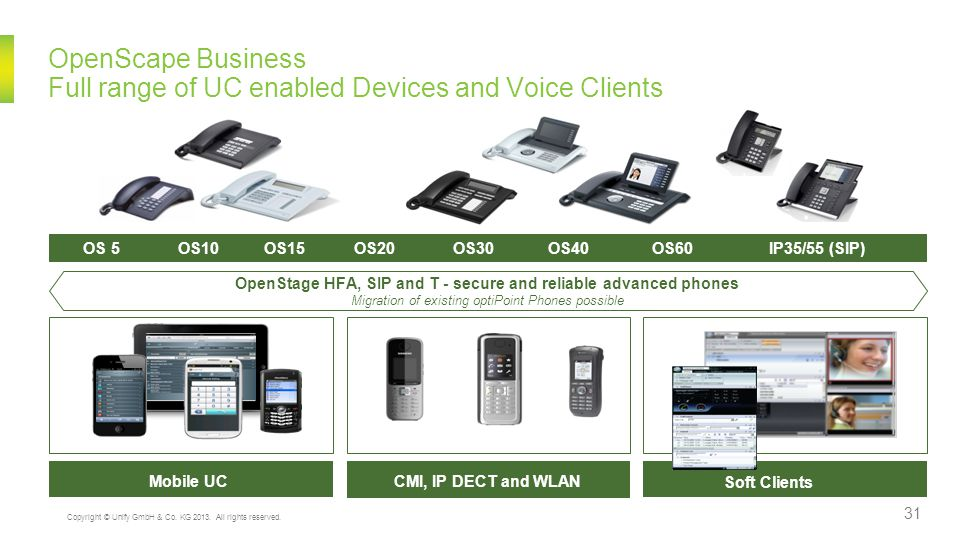 OpenScape Business Full range of UC enabled Devices and Voice Clients