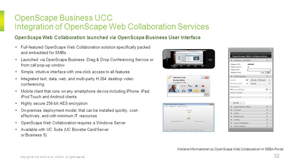 OpenScape Business UCC Integration of OpenScape Web Collaboration Services