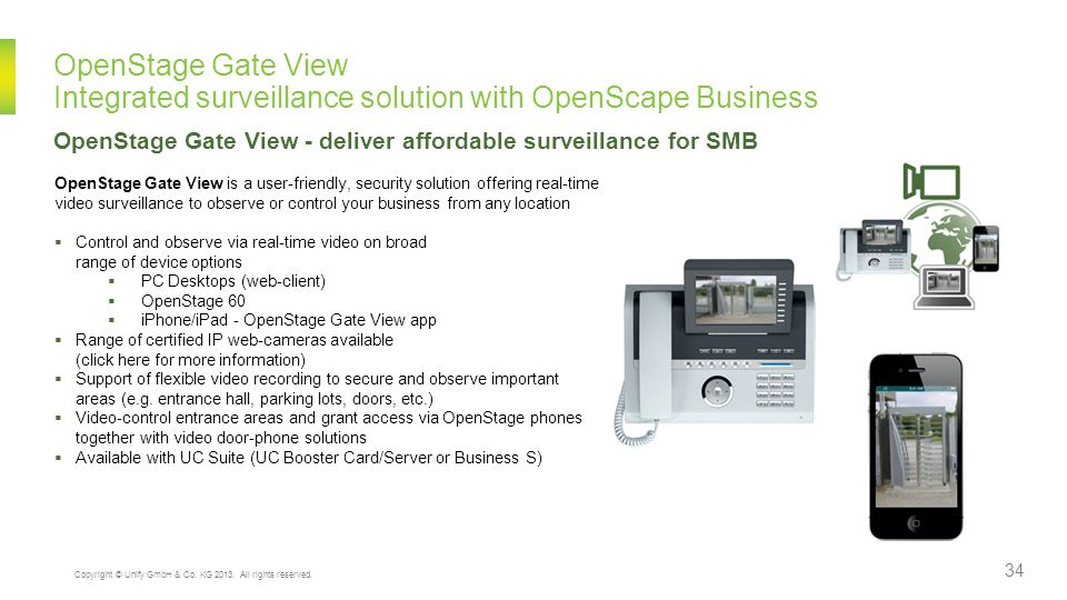 OpenStage Gate View Integrated surveillance solution with OpenScape Business