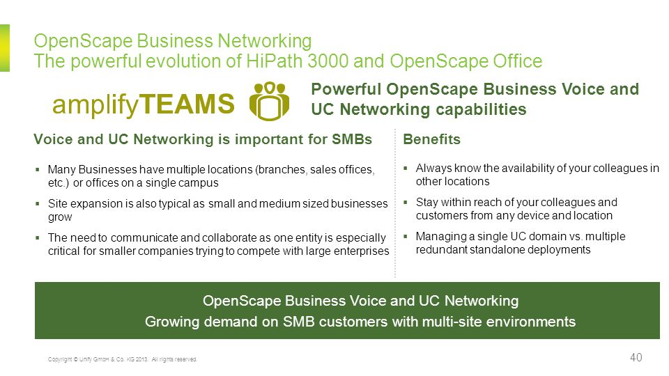 OpenScape Business Networking The powerful evolution of HiPath 3000 and OpenScape Office