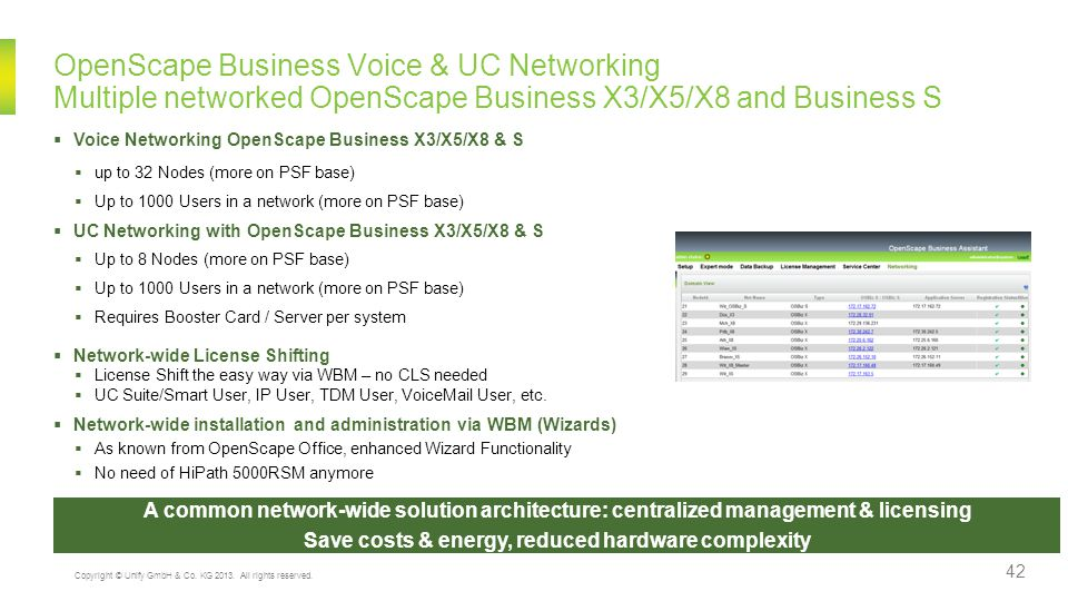 Save costs & energy, reduced hardware complexity