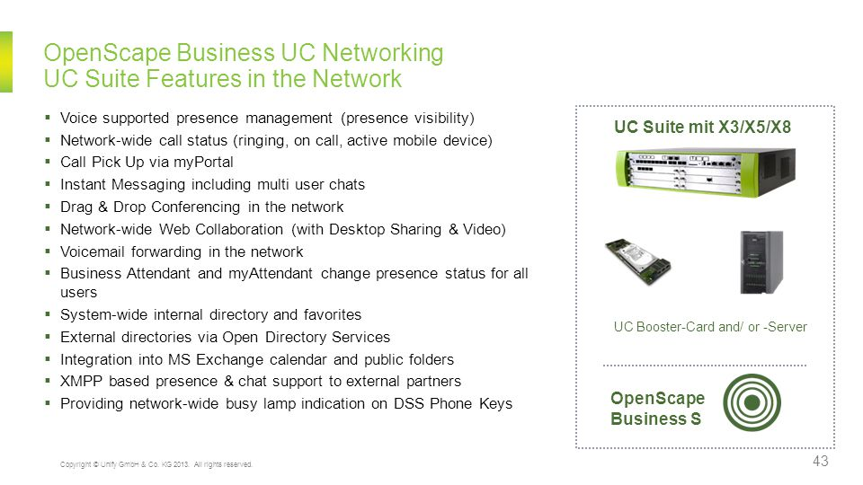 OpenScape Business UC Networking UC Suite Features in the Network