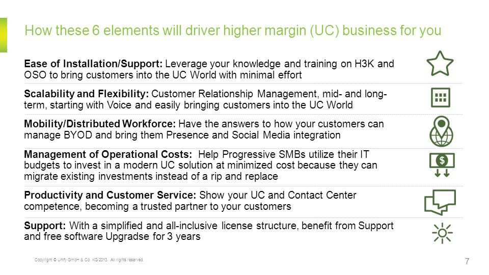 How these 6 elements will driver higher margin (UC) business for you