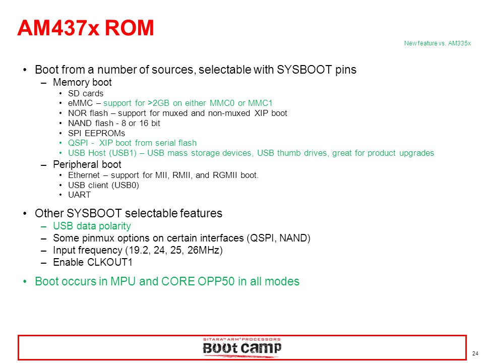 AM437x ROM Boot from a number of sources, selectable with SYSBOOT pins