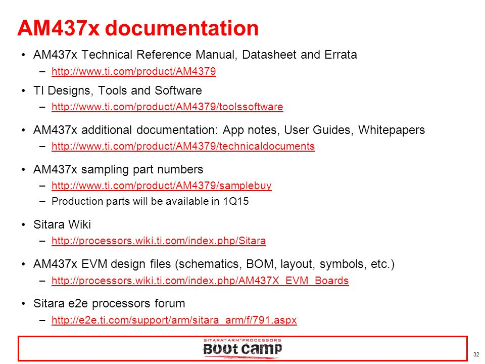 AM437x documentation AM437x Technical Reference Manual, Datasheet and Errata. http://www.ti.com/product/AM4379.