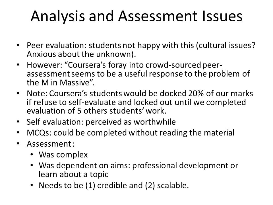 Analysis and Assessment Issues