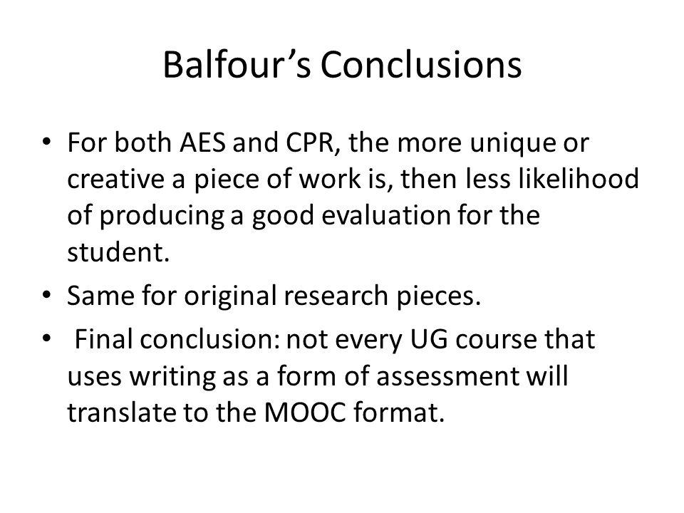 Balfour's Conclusions