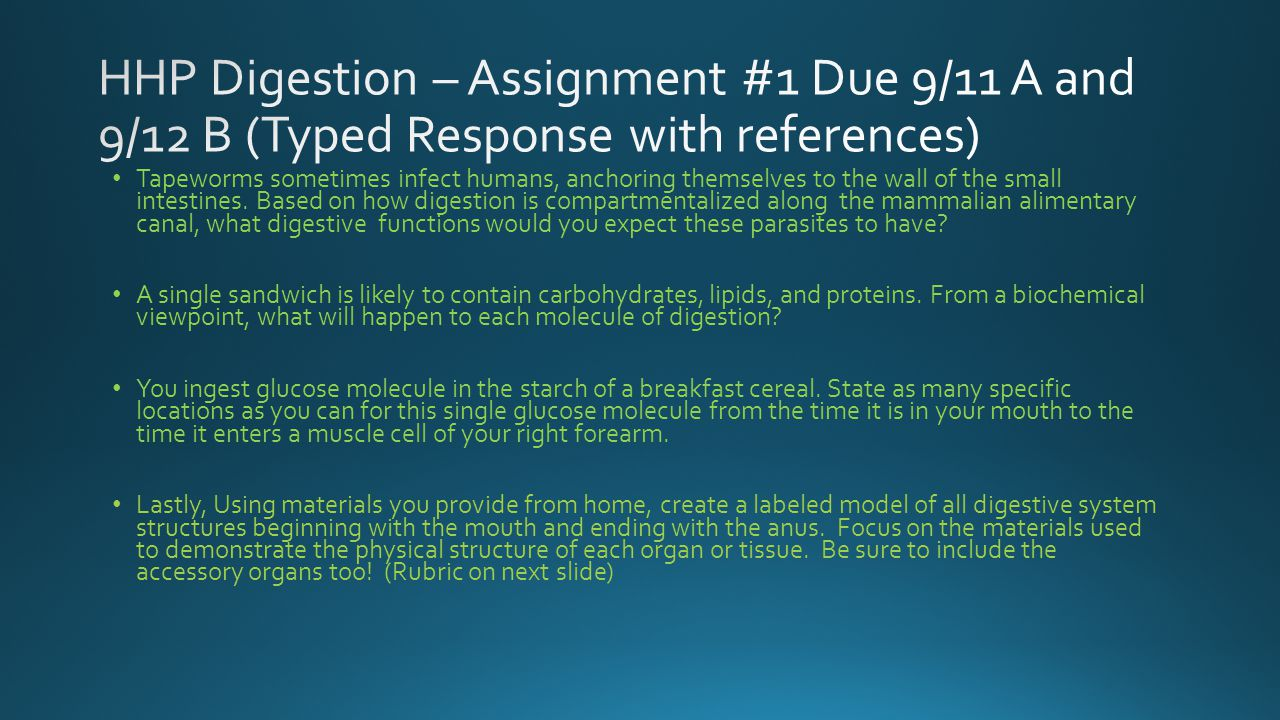 HHP Digestion – Assignment #1 Due 9/11 A and 9/12 B (Typed Response with references)