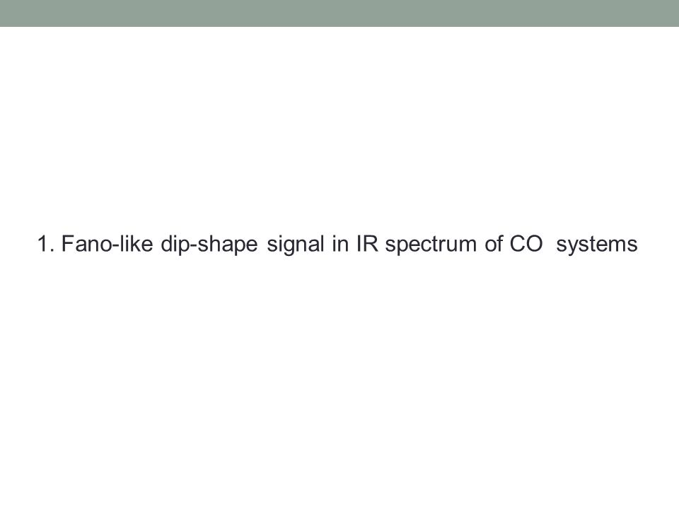 1. Fano-like dip-shape signal in IR spectrum of CO systems