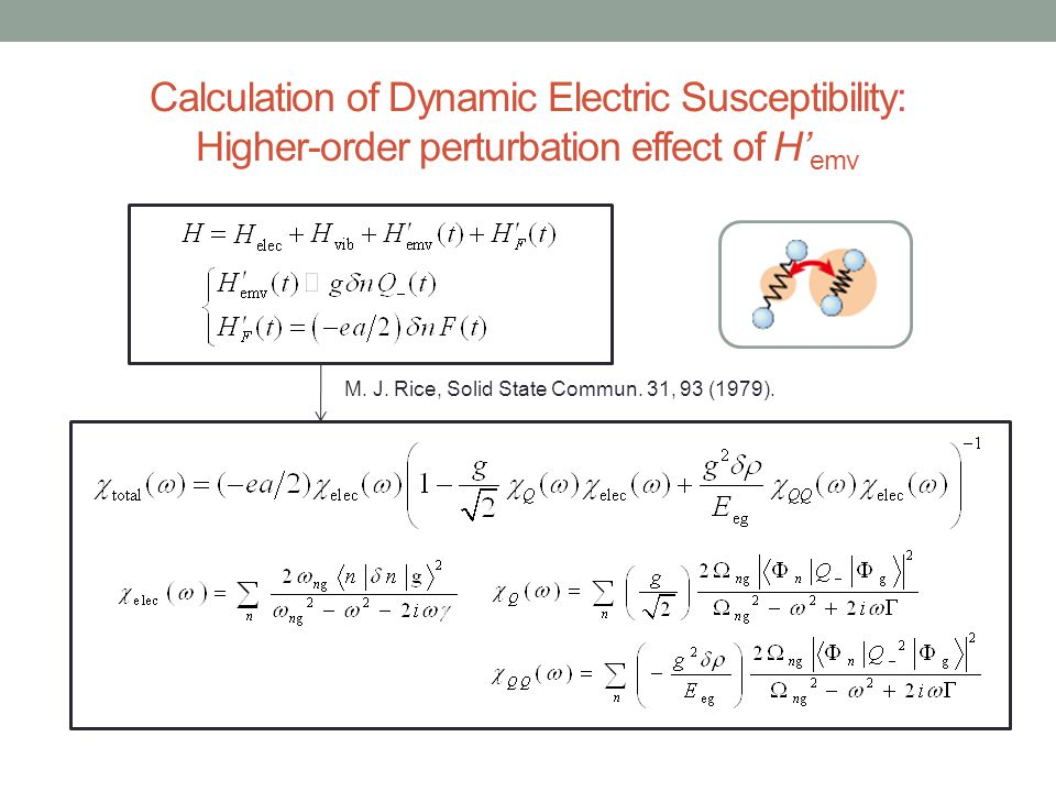 Calculation of Dynamic Electric Susceptibility: Higher-order perturbation effect of H'emv
