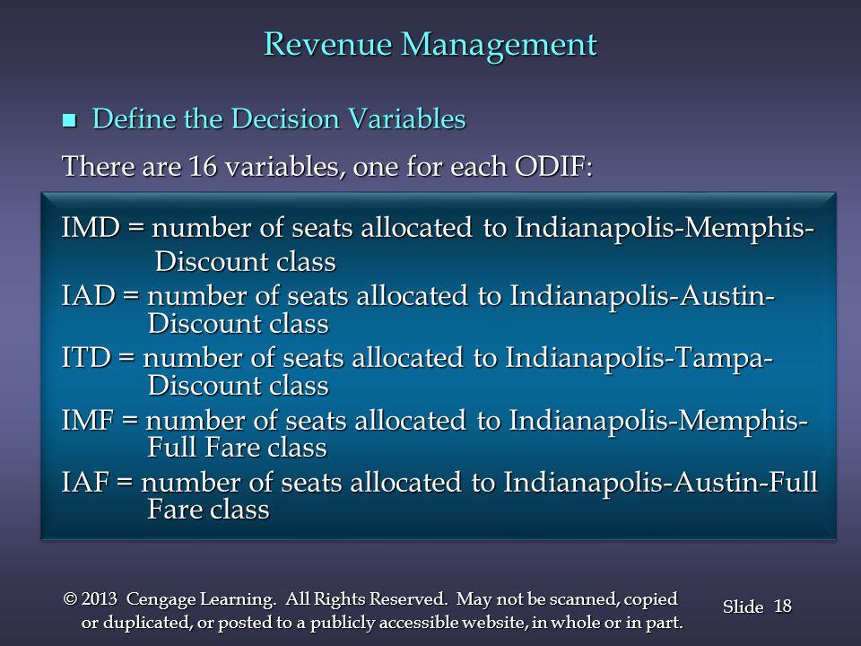 Revenue Management Define the Decision Variables