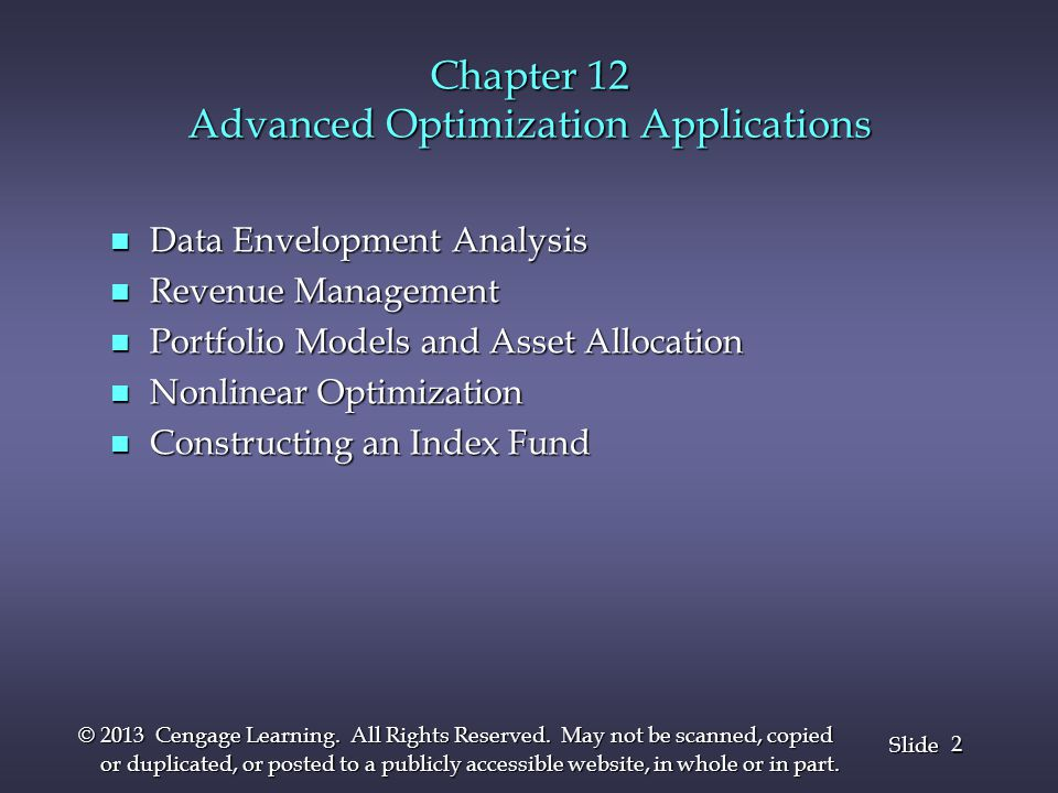 Chapter 12 Advanced Optimization Applications