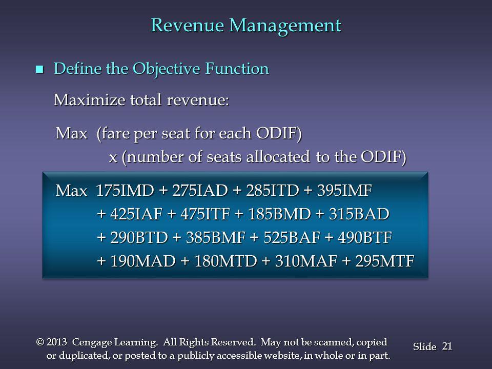 Revenue Management Define the Objective Function