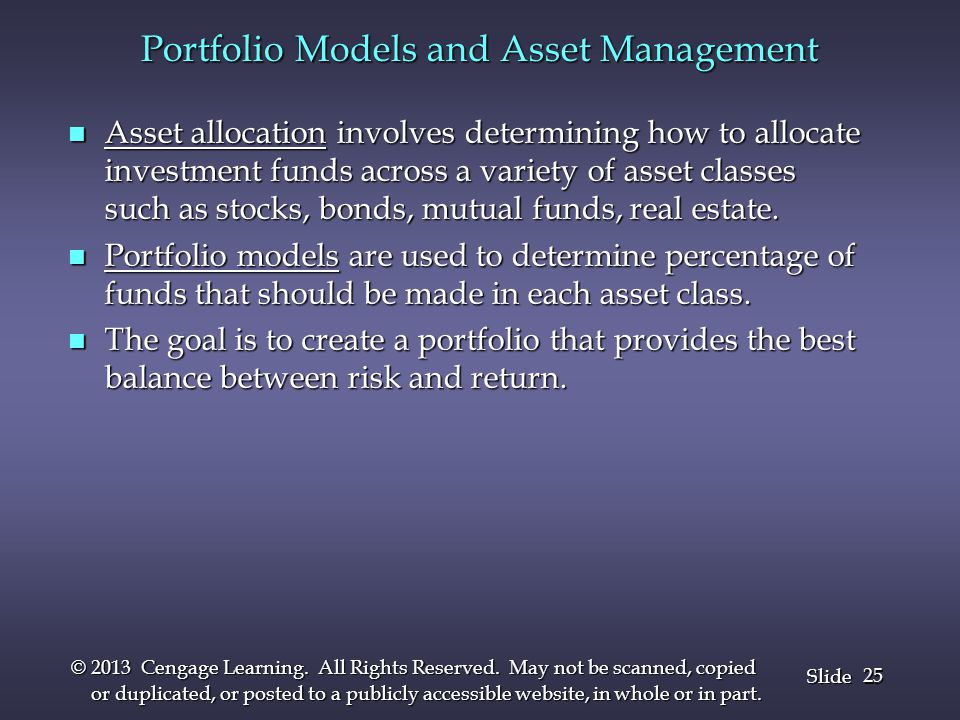Portfolio Models and Asset Management