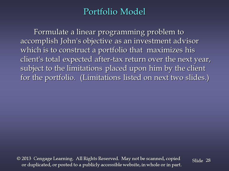 Portfolio Model Formulate a linear programming problem to