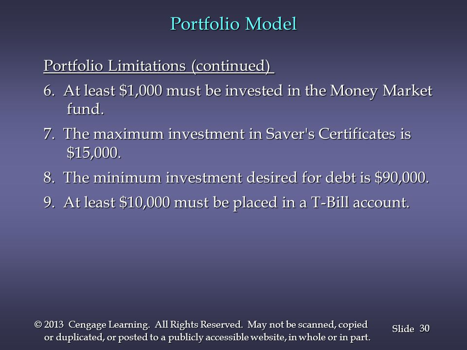 Portfolio Model Portfolio Limitations (continued)
