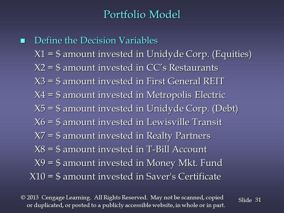 Portfolio Model Define the Decision Variables