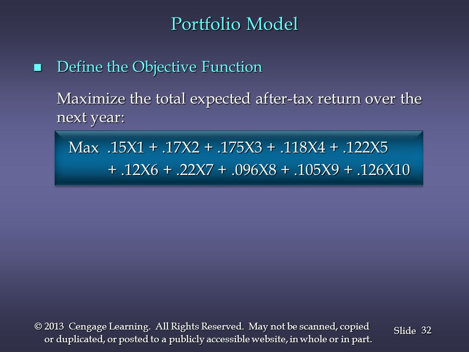 Portfolio Model Define the Objective Function