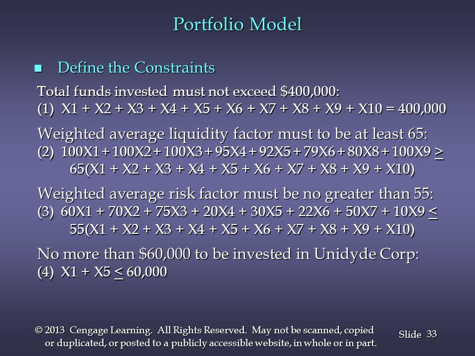 Portfolio Model Define the Constraints