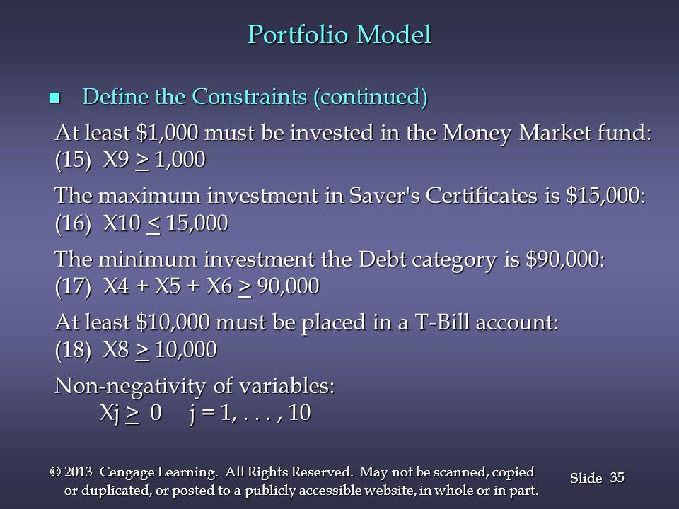 Portfolio Model Define the Constraints (continued)