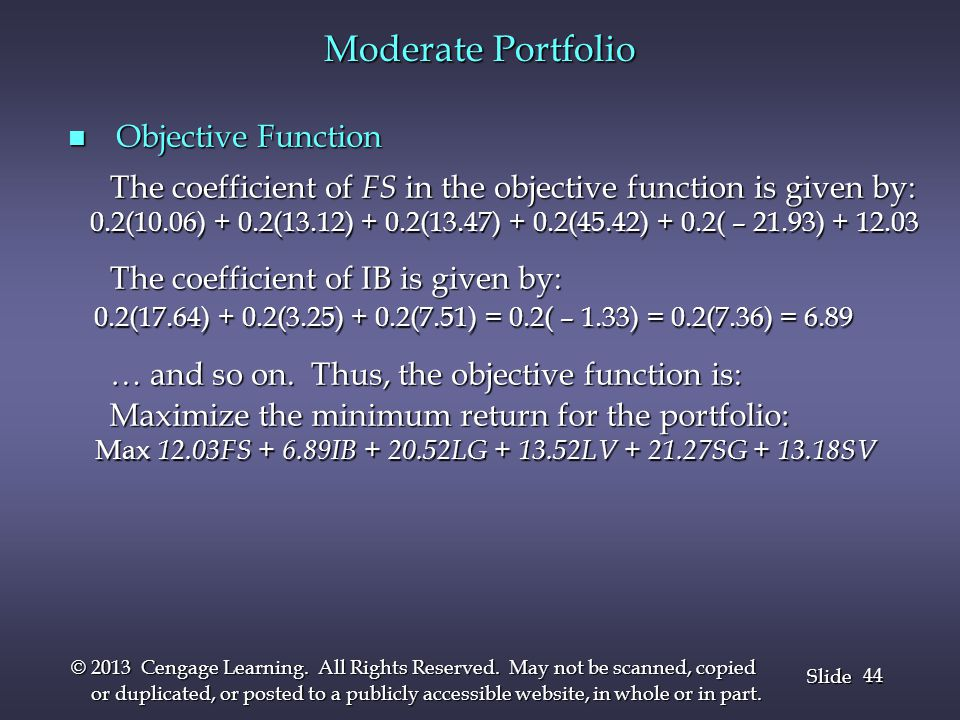 Moderate Portfolio Objective Function
