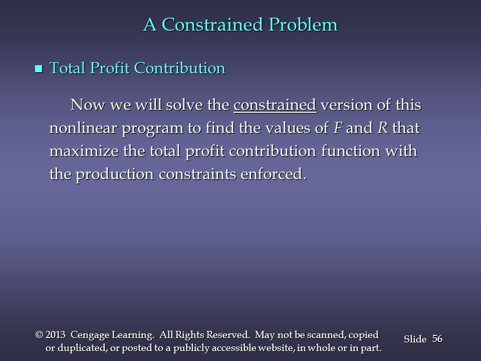 A Constrained Problem Total Profit Contribution