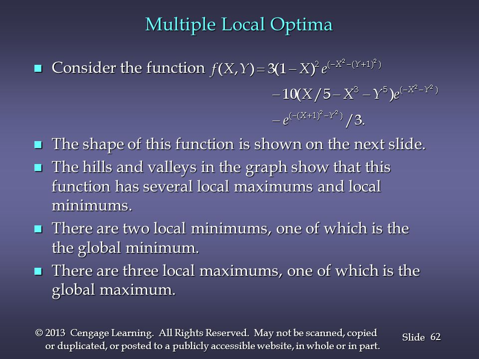 Multiple Local Optima Consider the function