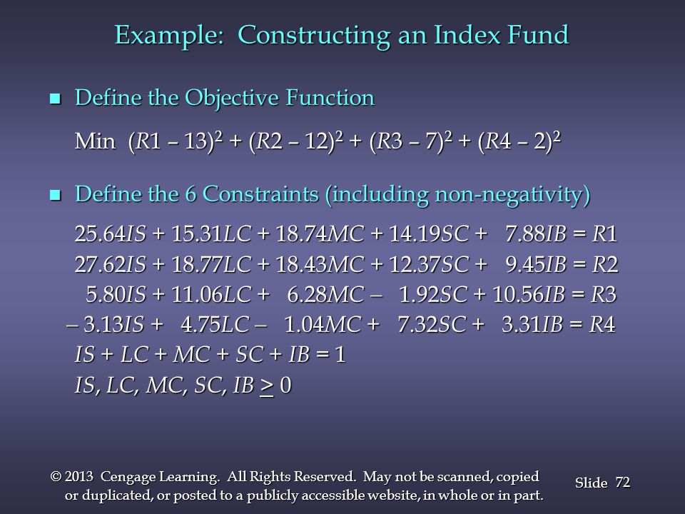 Example: Constructing an Index Fund