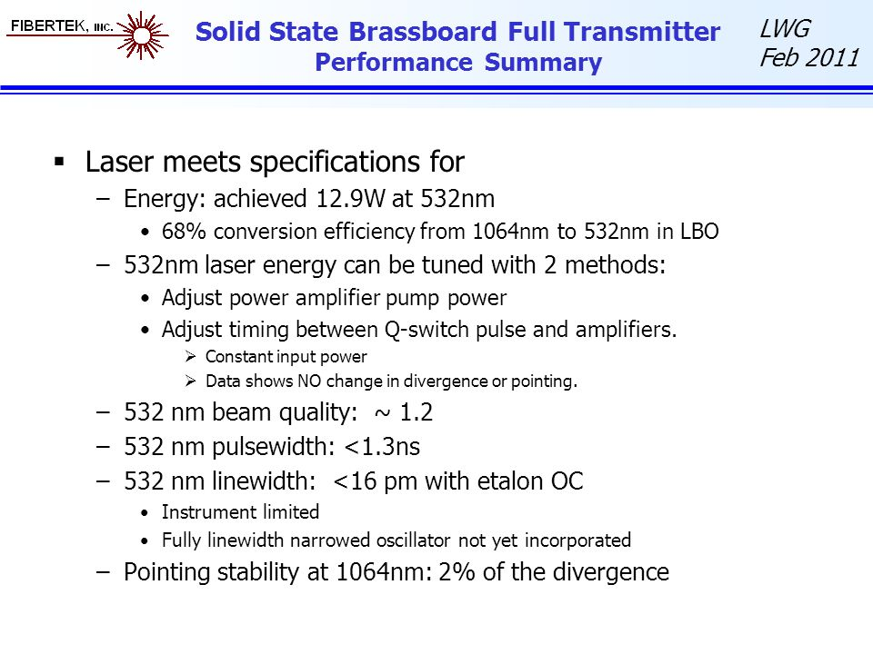 Solid State Brassboard Full Transmitter Performance Summary
