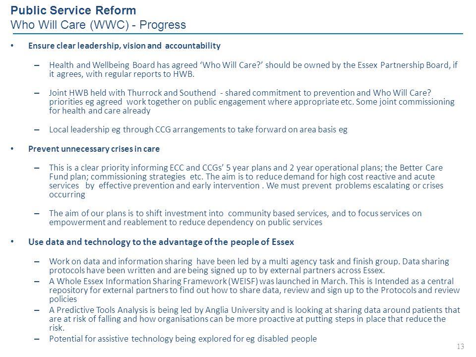 Public Service Reform Who Will Care (WWC) - Progress
