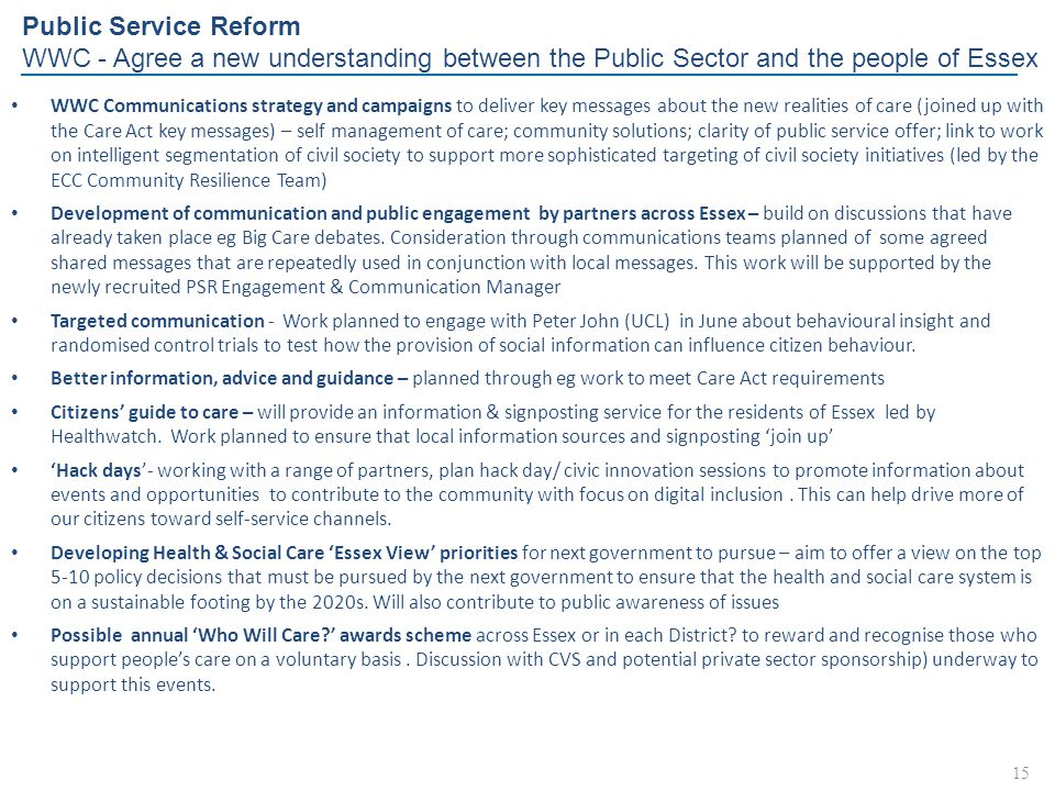 Public Service Reform WWC - Agree a new understanding between the Public Sector and the people of Essex