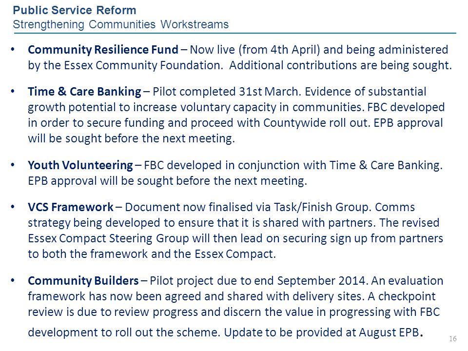 Public Service Reform Strengthening Communities Workstreams