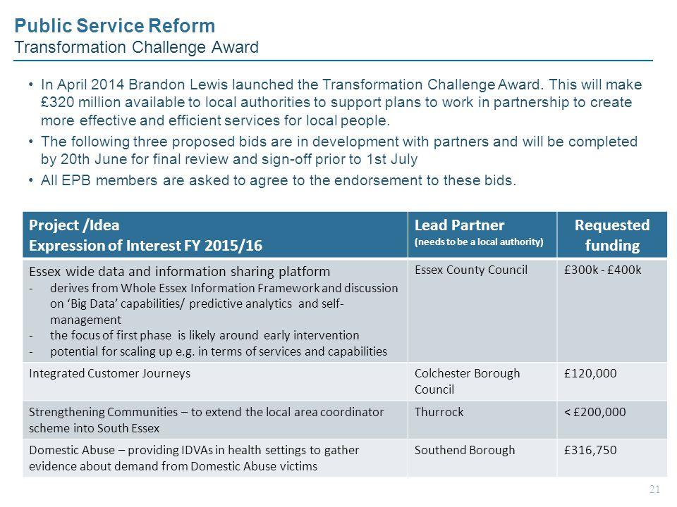 Public Service Reform Transformation Challenge Award