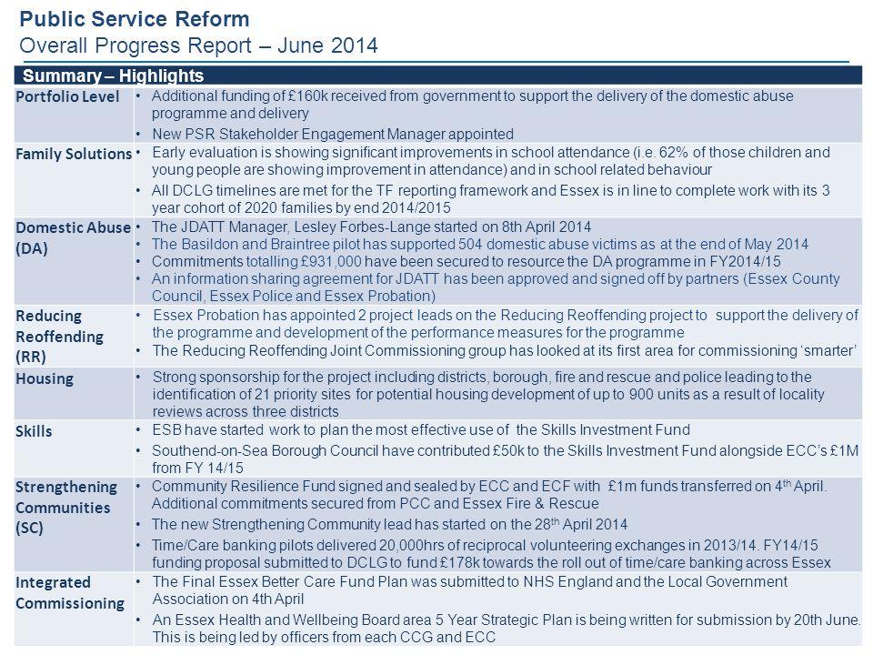 Public Service Reform Overall Progress Report – June 2014