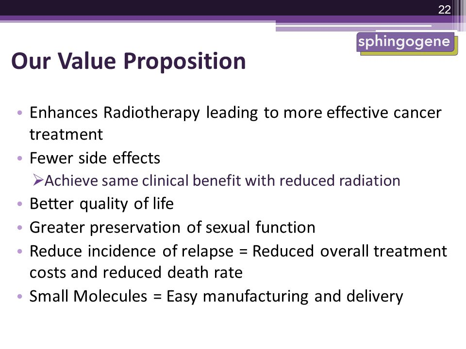 Our Value Proposition Enhances Radiotherapy leading to more effective cancer treatment. Fewer side effects.