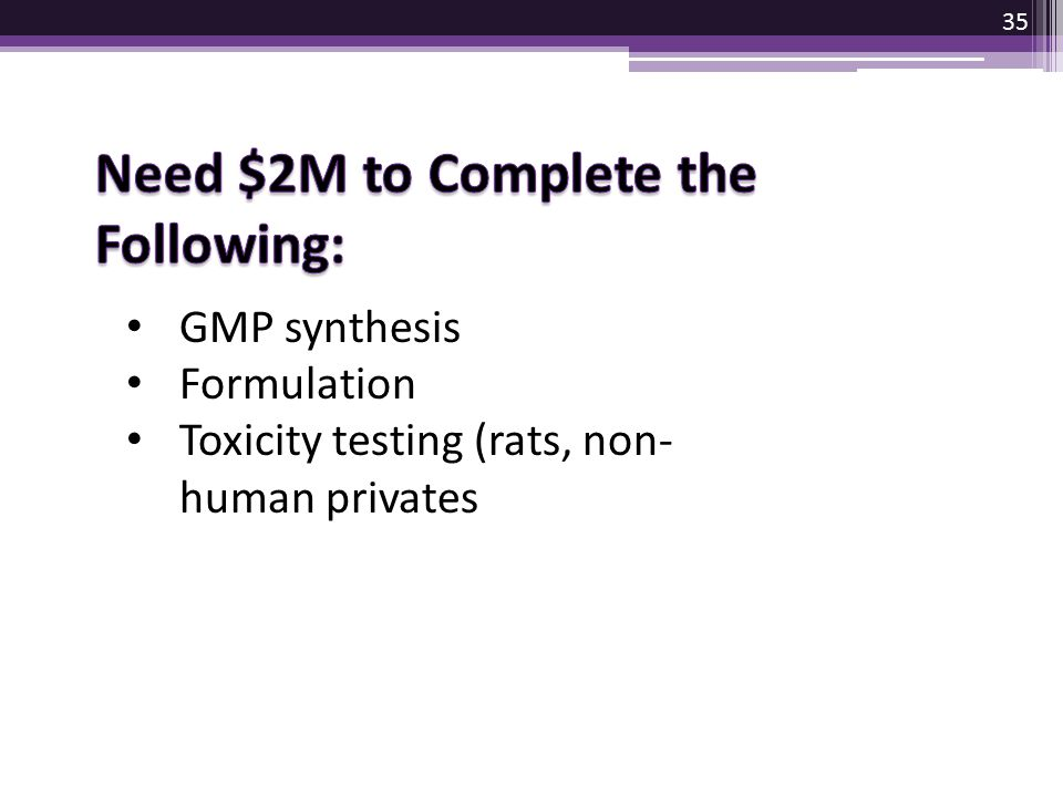 Need $2M to Complete the Following: