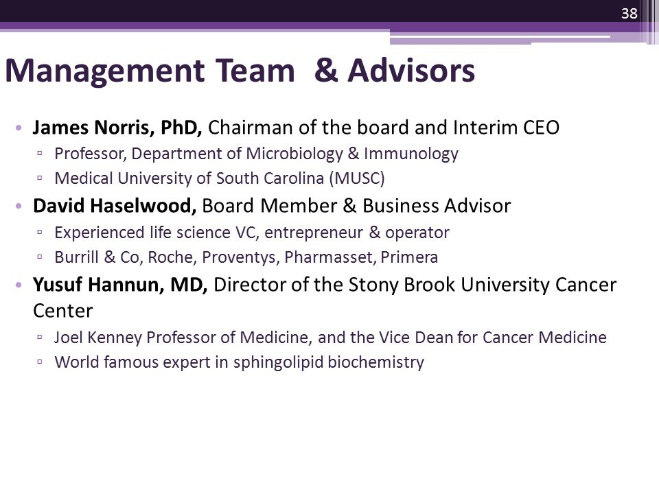 Management Team & Advisors