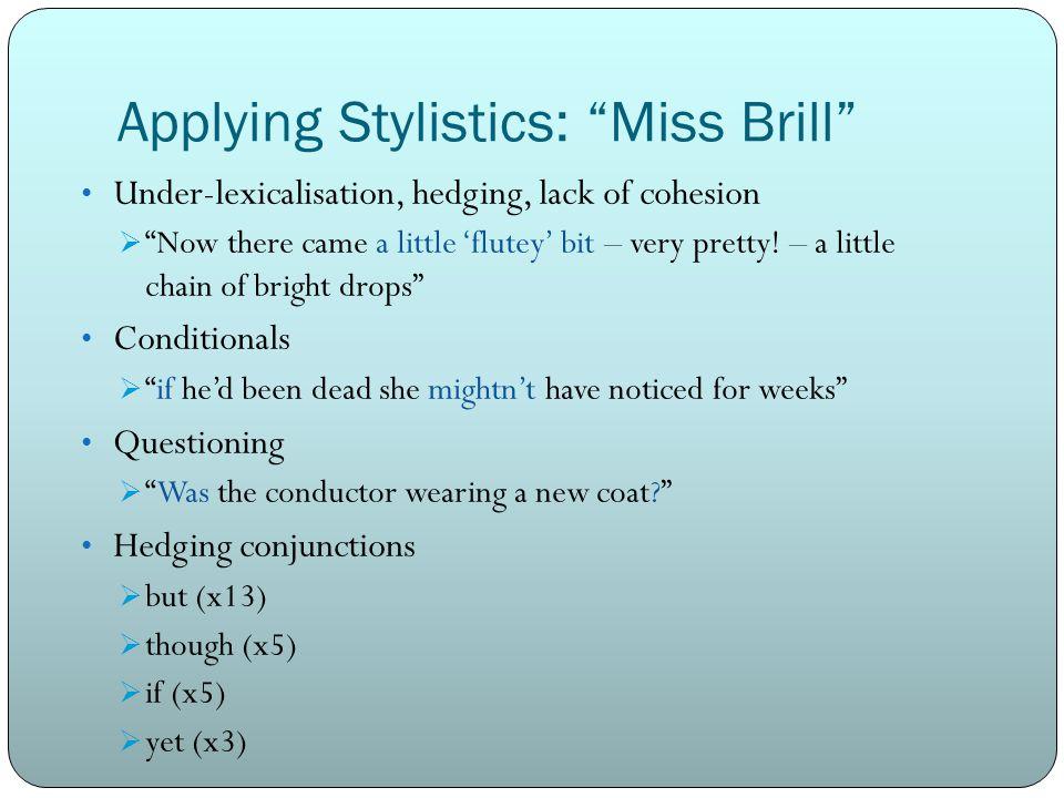 Applying Stylistics: Miss Brill