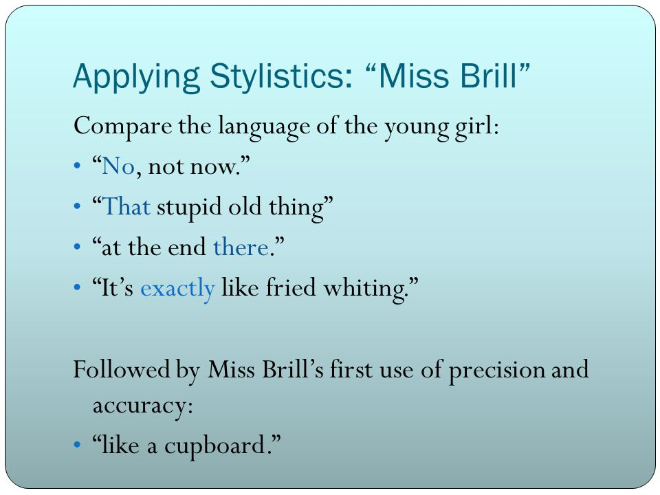comparison and contrast of miss brill