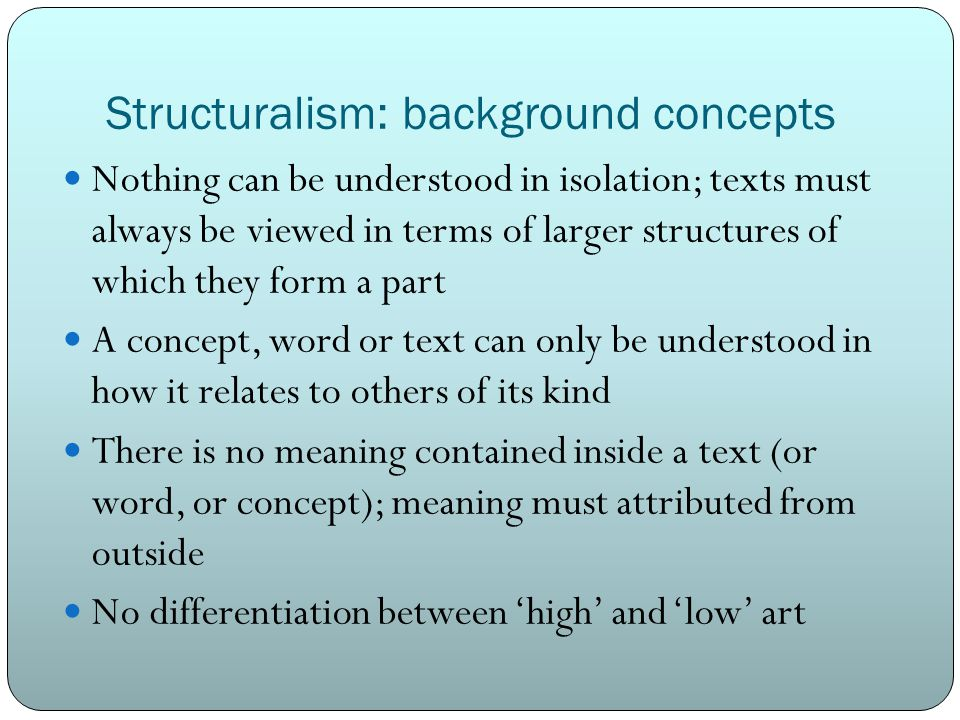 Structuralism: background concepts